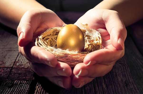 gold egg in the hands